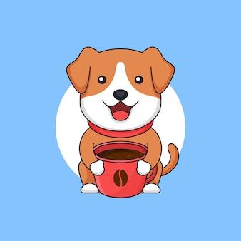 Mignon bébé chien tenir plein de tasse de café tasse illustration contour design plat de style dessin animé