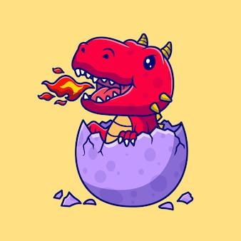 Mignon bébé dragon en illustration d'icône de vecteur de dessin animé d'oeuf. concept d'icône de nature animale isolé vecteur premium. style de dessin animé plat