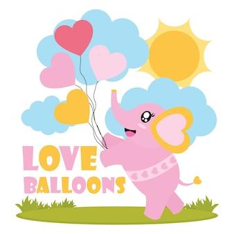 Mignon bébé éléphant apporte des ballons d'amour