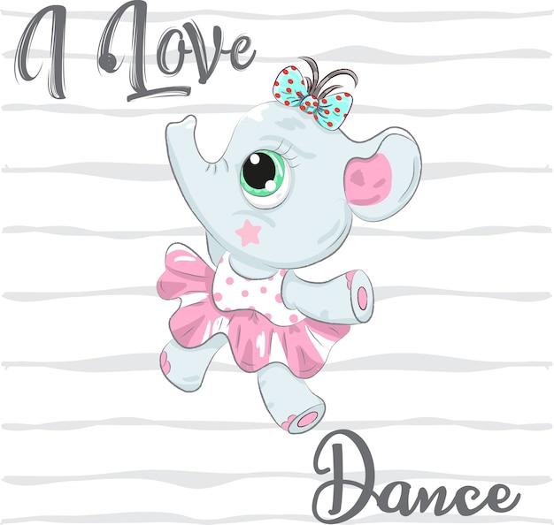 Mignon bébé éléphant ballerine caricature dessinée à la main