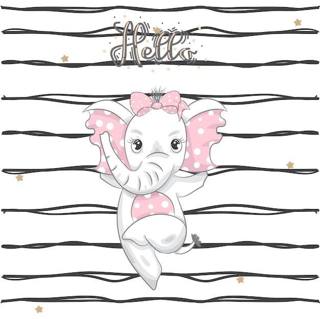 Mignon bébé éléphant dansant dessin animé dessinés à la main