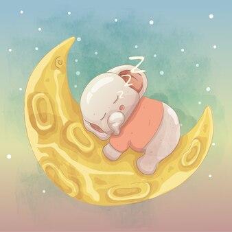 Mignon bébé éléphant dormant sur la lune