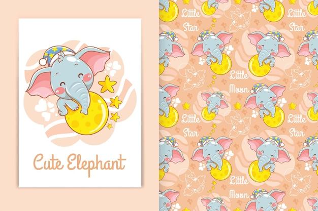 Mignon bébé éléphant étreignant la lune avec une petite illustration de dessin animé étoile et un ensemble de motifs harmonieux