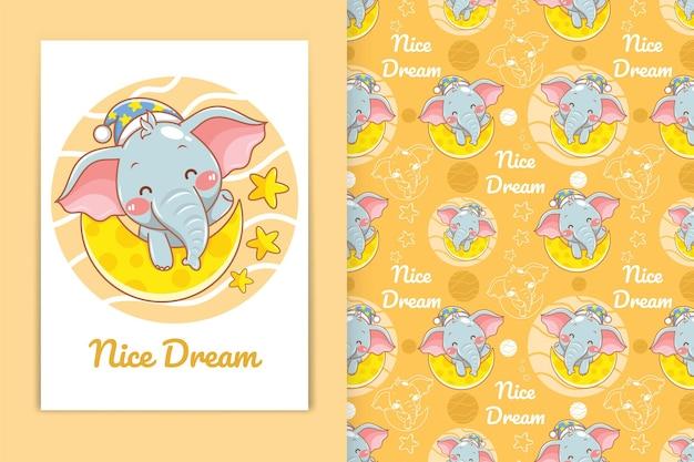 Mignon bébé éléphant avec illustration de dessin animé lune et petite étoile et ensemble de motifs harmonieux