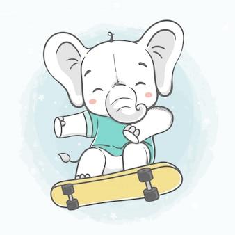 Mignon bébé éléphant joue skateboard couleur de l'eau bande dessinée à la main