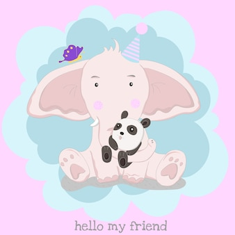 Le mignon bébé éléphant et panda