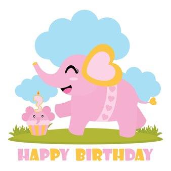 Mignon bébé éléphant avec son gâteau d'anniversaire