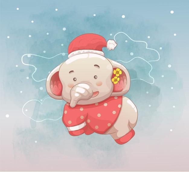 Mignon bébé éléphant voler sur le ciel