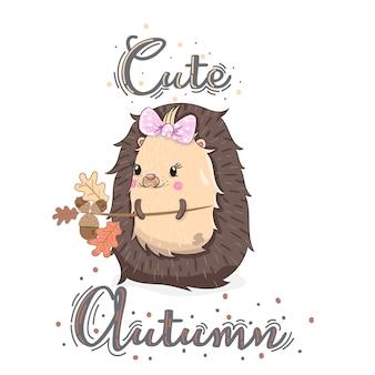 Mignon bébé fille hedgehog automne dessin animé dessinés à la main