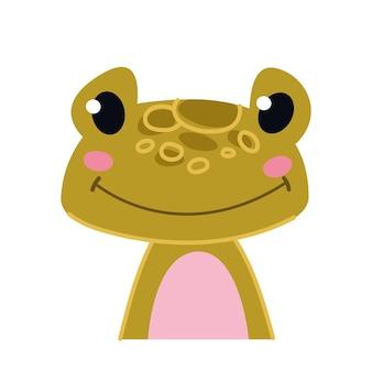 Mignon bébé grenouille verte crapaud avatar portrait illustration isolé sur blanc