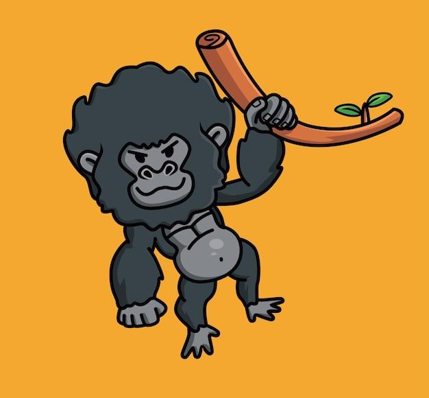 Mignon bébé jeune singe gorille singe noir tenant une branche d'arbre. animal isolé cartoon style plat icon illustration premium vector logo autocollant mascotte
