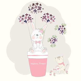 Le mignon bébé lapin et fleur avec un chat