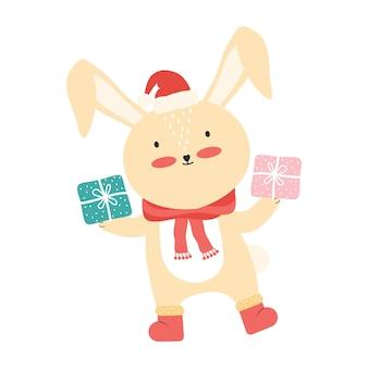 Mignon bébé lapin rose en bonnet de noel avec une grande boîte-cadeau. animal drôle de bande dessinée isolé