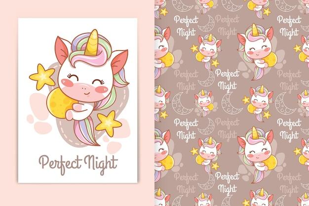 Mignon bébé licorne étreignant illustration de dessin animé de lune et ensemble de motifs sans couture