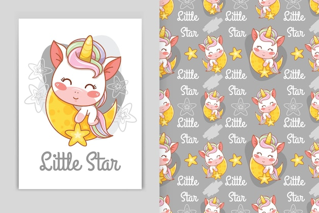 Mignon bébé licorne avec illustration de dessin animé lune et petite étoile et ensemble de motifs harmonieux