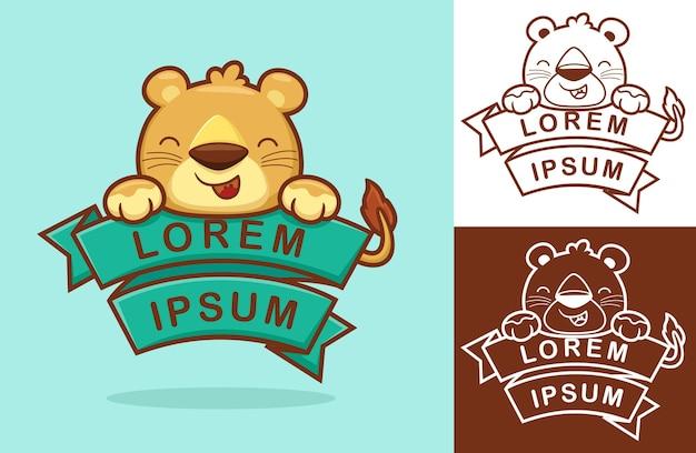 Mignon bébé lion avec ruban. illustration de dessin animé dans le style d'icône plate