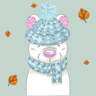Mignon bébé ours et dessin animé automne dessinés à la main