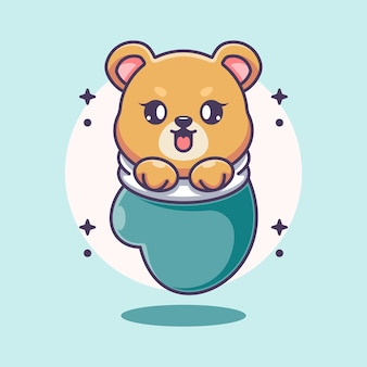 Mignon bébé ours en dessin animé de gant