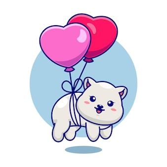 Mignon bébé ours polaire flottant avec ballon coeur