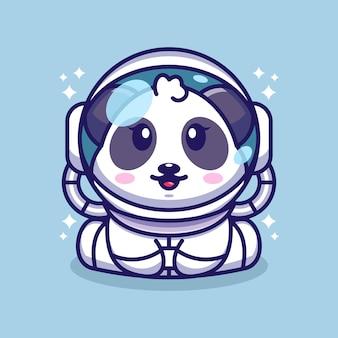 Mignon bébé panda portant un personnage de dessin animé de costume d'astronaute