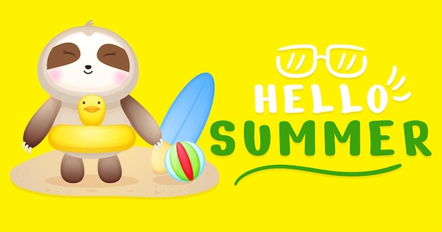Mignon bébé paresseux doodle avec bannière de voeux d'été
