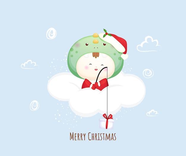 Mignon bébé père noël sur le nuage pour joyeux noël illustration vecteur premium