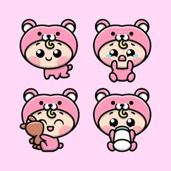 Mignon bébé porte ensemble de mascotte de bande dessinée costume ours rose