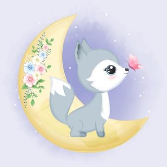Mignon bébé renard sur la lune avec papillon