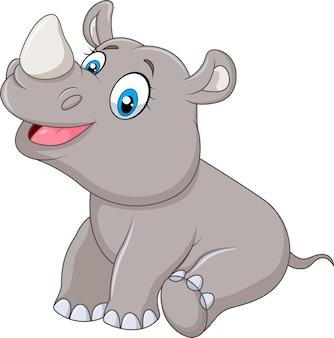 Mignon bébé rhinocéros assis