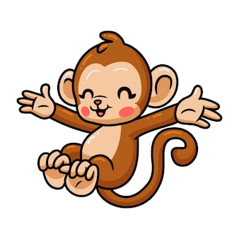 Mignon bébé singe dessin animé sautant