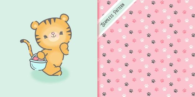 Mignon bébé tigre kawaii avec panier de fraises et motif sans couture d'empreintes de pieds premium