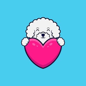 Mignon bichon frisé chien tenant illustration icône coeur rose dessin animé