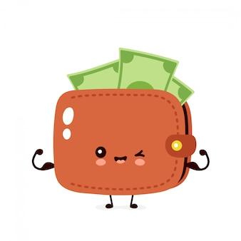 Mignon billet de banque d'argent heureux montre le portefeuille musculaire. illustration de personnage de dessin animé plat. isolé sur fond blanc. portefeuille fort concept
