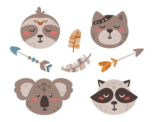 Mignon boho bébé animaux visages et flèches isolé ensemble de cliparts