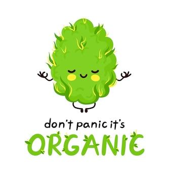 Mignon bourgeon de mauvaise herbe méditant heureux. pas de panique, c'est une carte bio. concept de méditation de bourgeon de marijuana