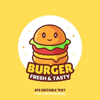 Mignon burger logo vector icon illustrationlogo premium fast food dans un style plat pour restaurant