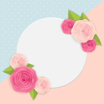 Mignon avec cadre et fleurs. illustration