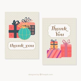 Mignon cartes de remerciement avec des cadeaux en style vintage