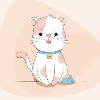 Mignon chat animal caractère dessiné à la main