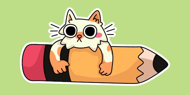 Mignon chat chaton heureux retour à l'école étude dessin illustration