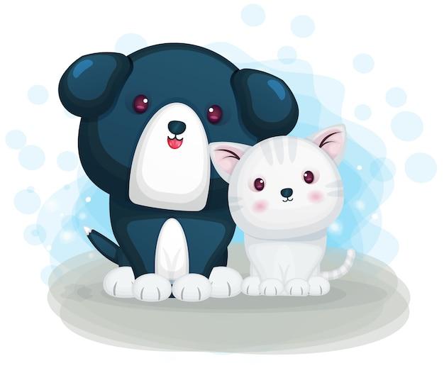 Mignon chat et chien amical au personnage de dessin animé à la maison