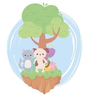 Mignon chat chien fleurs arbre herbe dessin animé animaux dans un paysage naturel
