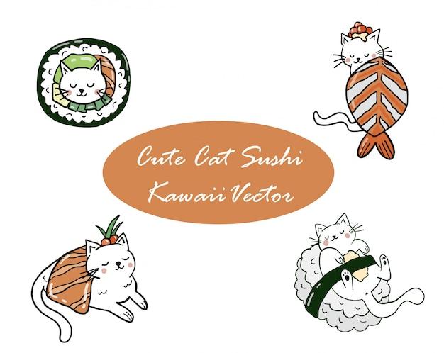 Mignon chat kawaii sushi