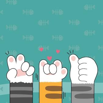 Mignon chat pattes fond d'écran vector illustration