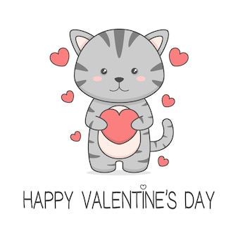 Mignon chat tenant coeur saint valentin