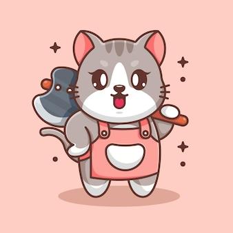 Mignon, chat, tenue, hache, dessin animé