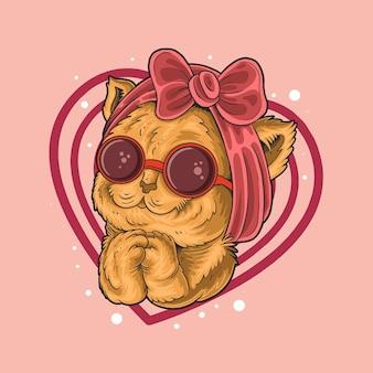 Mignon chaton adorable mendiant d'être aimé illustration