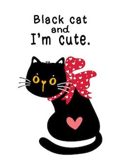 Mignon chaton chat noir saint-valentin avec cadeau de vacances arc ruban rouge avec idée de citation pour carte de voeux