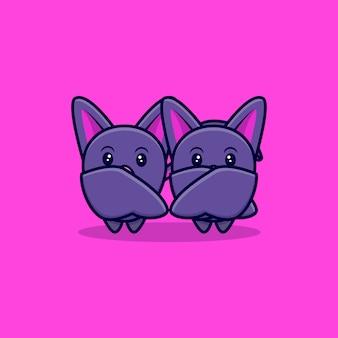 Mignon, chauve-souris, à, couple, dessin animé, icône, illustration