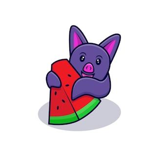 Mignon, chauve-souris, manger, pastèque, dessin animé, icône, illustration